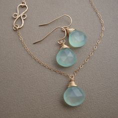 Aqua Chalcedony Earrings wire wrapped on gold filled by lizix26, $29.00