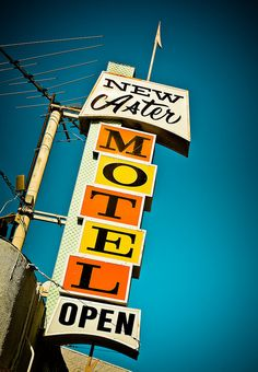 """New Aster Motel Open"" - American Graphic 50s/60s Neon Signs."