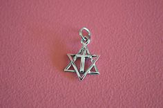 925 Sterling Silver Religious David of Star Messianic w/ Cross Pendant