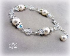 Wedding Bracelet Swarovski Clear Crystal & by PureRainDesigns, $28.00