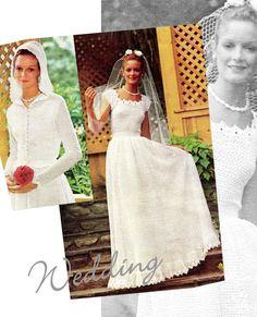 Vintage CROCHET Wedding Bridal Dress & Hooded Jacket Ensemble PDF Pattern - Wedding - Digital Download Pattern Super feminine 70s Crochet Wedding