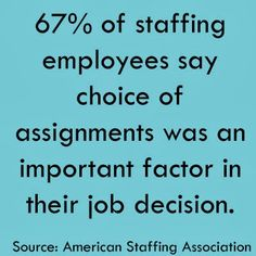 """""""67% of staffing employees say choice of assignments was an important factor in their job decision."""" Source: American Staffing Association Temporary Jobs, Job Satisfaction, Entrepreneur Ideas, Software Development, How To Apply, Facts, Sayings, American, Business"""