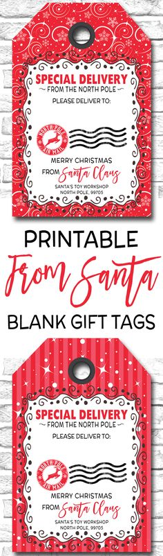 Personalized From Santa Gift Tags, Printable Christmas Gift Tags Holiday Gift Tags, Christmas Gift Wrapping, 3d Christmas, Xmas, Christmas Ideas, Christmas Planning, Christmas Clipart, Christmas Printables, Party Printables