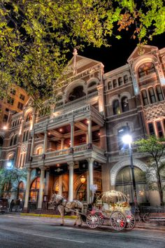 The Driskill Hotel -Austin, TX.  This place is a must-stay when in Texas.  Originally build as the showplace of a cattle barron, and later served as President Lyndon Johnson's campaign headquarters, this is a true piece of TX history.