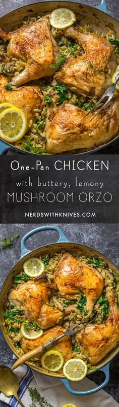 This one-pan #wonder combines crispy-skinned #chicken, baked directly on top of buttery, lemony #orzo, studded with wild #mushrooms, leeks and baby #spinach. It's a complete (and completely delicious) dinner, made in a single skillet.