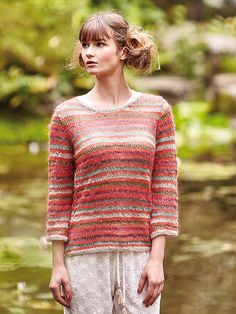 Yamagata - Knit this scoop neck sweater by Kaffe Fassett from Rowan Knitting & Crochet magazine Worked in Pure Linen and Kidsilk Haze this striped sweater would be suitable for the less experienced knitter. Rowan Knitting, Rowan Yarn, Knitting Sweaters, Crochet Magazine, Summer Knitting, Knitting Designs, Knitting Projects, Knit Or Crochet, Striped Knit