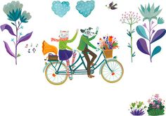 bike, biciclisti, bikers, tandem, double, happiness, love, lovers, spring…