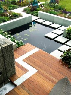 Modern Geometric Garden Design with Deck and Pond