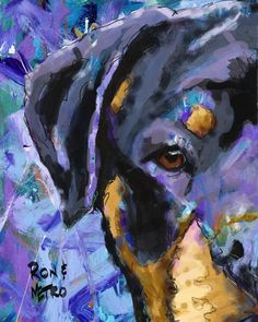 Rottweiler Art Print of Original Painting 11x14 by dogartstudio