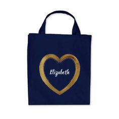 Monogrammed Bridesmaid Love Whimsy Gold Heart Tote Bag - accessories accessory gift idea stylish unique custom