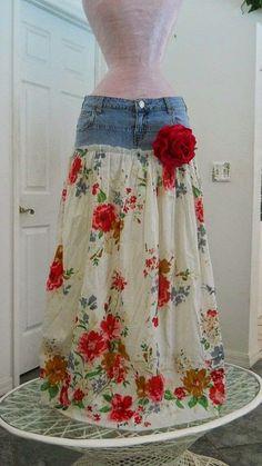 50 Ideas For Skirt Jean Diy Fabrics Diy Clothing, Sewing Clothes, Sewing Jeans, Skirt Sewing, Modest Clothing, Jean Diy, Kleidung Design, Diy Vetement, Boho Gypsy