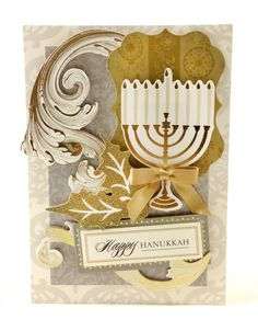 Hanukkah card from the Anna Griffin Holiday Traditions card making kit by Kathy Martin Pop Up Christmas Cards, Holiday Cards, Hanukkah Cards, Happy Hanukkah, Hannukah, Side Step Card, Scrapbook Cards, Scrapbooking, Scrapbook Layouts