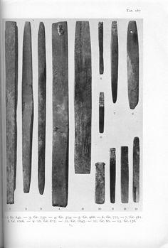 Holger Arbman - Birka I. Plate 187 = showing  whetstones found in various Birka graves.