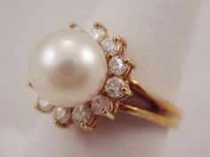 9mm White Pearl & Diamonds .36 CTTW 585 14k Halo Cocktail Ring Sz 6.5 Signed  #SignedandUnidentified #HaloSolitaire