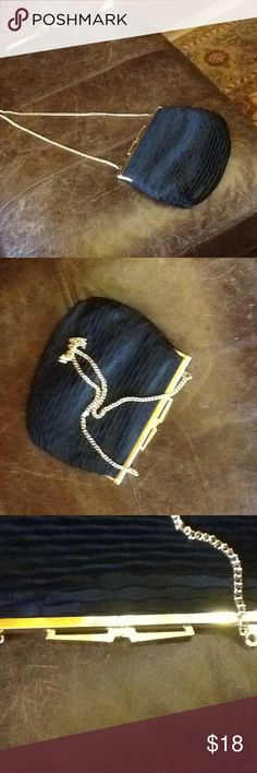 8x7i hand made in Italy vintage evening bag black Unique hand made in Italy black evening bag with gold bar and gold chain 13 inch drop on gold chain ,inside has an additional sewn in compartment a snap bag for a separate item ID or make up the outside is like scalloped silky  material💋 Magid Bags Satchels