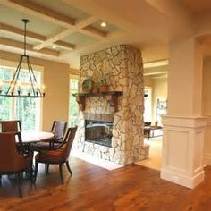 Modern Double Sided Fireplace Design Ideas For Open Plan Concept Room. Chair & Dining Room & Home Accessories & Living Room And Lounge & Rug Or Carpet & Sofa & Farmhouse Fireplace, Home Fireplace, Fireplace Remodel, Living Room With Fireplace, Brick Fireplace, Fireplace Surrounds, Fireplace Design, Fireplace Ideas, Candle Fireplace