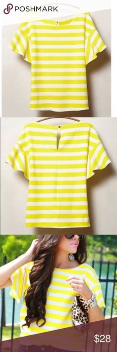"""Postmark Edie Swing Top Beautiful vi rant yellow& white stripe textured tee from Anthro brand Postmark. The Edie Swing top has flutter sleeves& keyhole detail at back neckline, just enough whimsy to add flair to a jeans & heels outfit. Cotton/poly/spandex blend.  EUC, no notable flaws -Sz XS -Chest 17.5"""" -Length 22.5""""   Reasonable offers considered  ❌no offsite transactions/trades Anthropologie Tops"""
