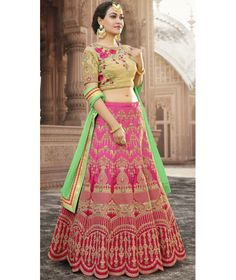 Buy This Banarasi Lehenga And Bhagalpuri Choli has Heavy Zari Work and Resham Work Blouse making it Engagement wear. A beautiful Pink And Red Lehenga. Lehenga Choli Designs, Lehenga Choli Online, Banarasi Lehenga, Red Lehenga, Party Wear Lehenga, Designer Bridal Lehenga, Indian Bridal Lehenga, Pink Beige, Magenta