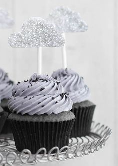 When skies are gray cupcakes... Would be so cute with a bright yellow sun in the middle.