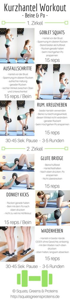 Kurzhantel Workout Übungen Beine Po Anfänger - Home Workout - healthy gesund Gesundheit Abnehmen Fitness - Squats, Greens & Proteins