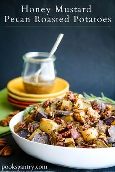 Potatoes roasted until crispy then tossed with toasted, herbed pecans and a honey mustard pecan dressing.  #holidaysides #fallrecipes #potatorecipes #potatosides #sidedishrecipes Quick Pasta Recipes, Easy Casserole Recipes, Easy Chicken Recipes, Potato Recipes, Easy Dinner Recipes, Fall Recipes, Holiday Recipes, Healthy Side Dishes, Side Dishes Easy