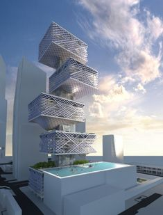 Mixed use car park tower with swimming pool, Hong Kong.