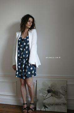 Zara cat dress + Tara Jarmon white blazer