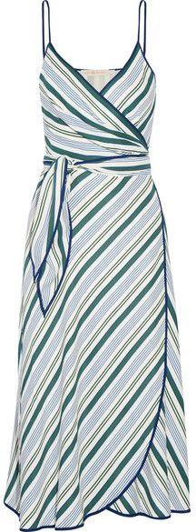 Tory Burch - Villa Striped Satin-twill Wrap Dress - Blue