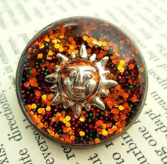 Autumn Sun Handmade Resin Brooch - Recycled Watch Case Back Pin