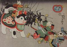 江戸時代の猫浮世絵「猫鼠合戦」の実物写真