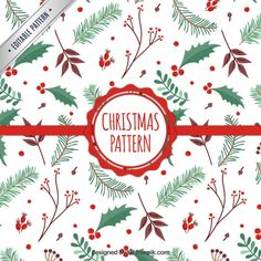 Mistletoe Christmas Pattern Free Vector