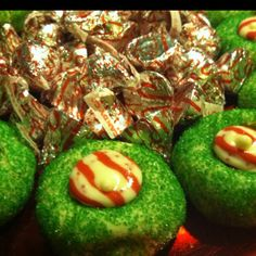 Tasty Grinch Cookies :) these would even be cute on top of cupcakes