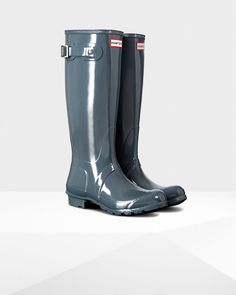 "# 1 color choice... Women's Original Tall Gloss Rain Boots in ""graphite"""