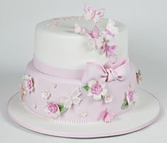 butterfly christening cake
