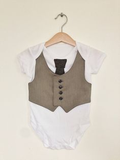 Toddler clothing, 18 to 24 months, gray vest onesie, boys waistcoat, formal toddler wedding outfit, baby boy clothes, Etsy UK via Etsy