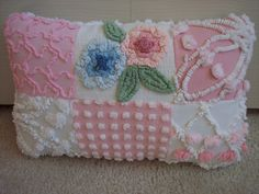 """hrow Pillow Pink Cabin Craft Flowers from Vintage Chenille Bedspread 12""""X 8"""""""