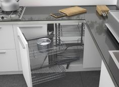 Magic Corner! Pull out storage for hard to reach kitchen corner cupboards.