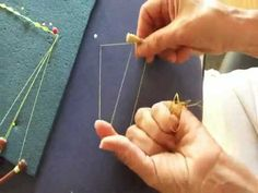 Here I show different methods of making the hitch on bobbins when preparing them for lace making. First for bobbins wound anti-clockwise as seen from the hea. Bobbin Lacemaking, Lace Art, Bobbin Lace Patterns, Lace Jewelry, Lace Border, Lace Making, Thread Crochet, Crochet Projects, Tatting