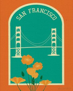San Francisco Golden Gate Bridge and Poppies Poster Print