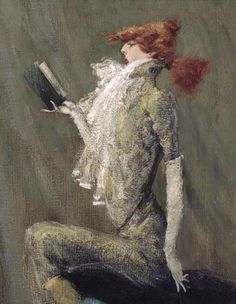 A caricature of Sarah Bernhardt by Simon Bussy. Oil on panel. This caricature derives from a portrait of Bernhardt painted by Jules- Bastien Lépage (1848-1884).