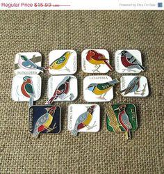20% OFF Vintage Birds Pins, Bird Lapel Pin, Birds Charms, Birds Pin Brooch, Small Metal Birds
