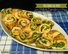 Rolls of turkey with spinach pesto