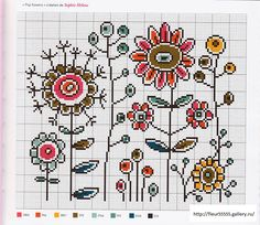 modern flowers cross stitch