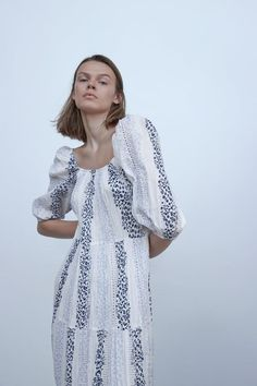 ZARA - WOMAN - PRINTED AND EMBROIDERED DRESS Rustic Dresses, Zara Dresses, Zara Women, Mom Style, What To Wear, Short Sleeve Dresses, Tunic Tops, Clothes, United States