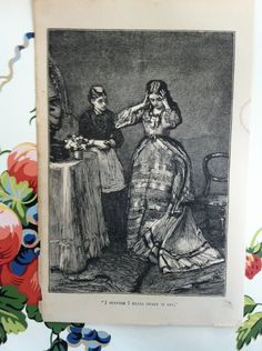 Oh, My- what to do- vintage antique print- steel engraving.
