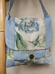 Terrific purse made with old blue jeans and upholstery fabric.