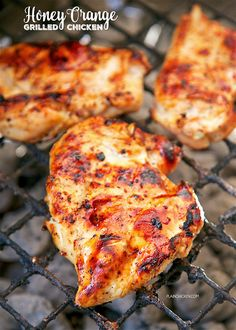 Honey Orange Grilled Chicken - only 4 ingredients! Orange juice, honey, Italian dressing mix and chicken. Marinate for an hour and grill. SO easy and super delicious! We doubled the recipe and ate leftovers the next day. Crazy good! ~ Plain Chicken