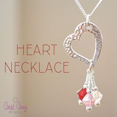 Lovely heart necklace! Swarovski beads on beautiful silver plated hammered heart.