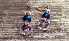 Blue and Purple crystal dangle earrings by thedragonsdencrafts