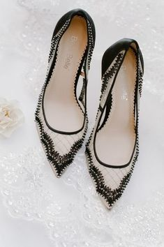 Black and white wedding shoes for bride - wedding heels for bride {Tanya Isaeva Photography}